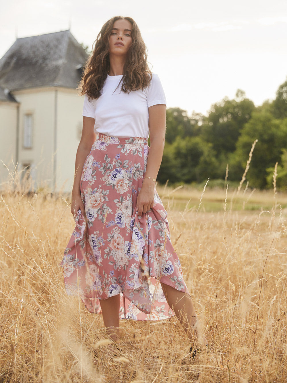 AUGUSTE THE LABEL Pascal Fleur Wrap Midi Skirt