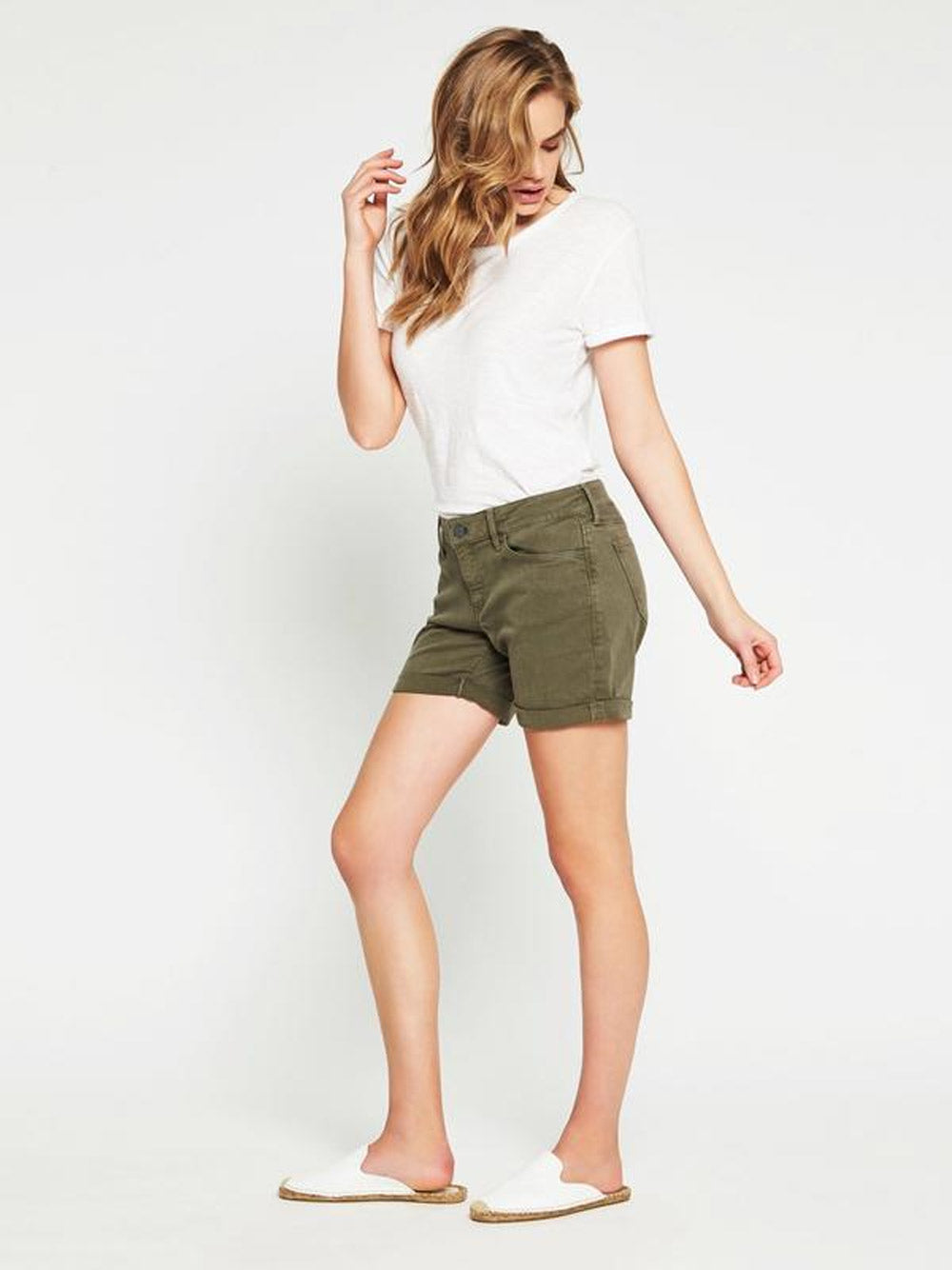 The MAVI's Pixie Boyfriend Shorts in Military Twill