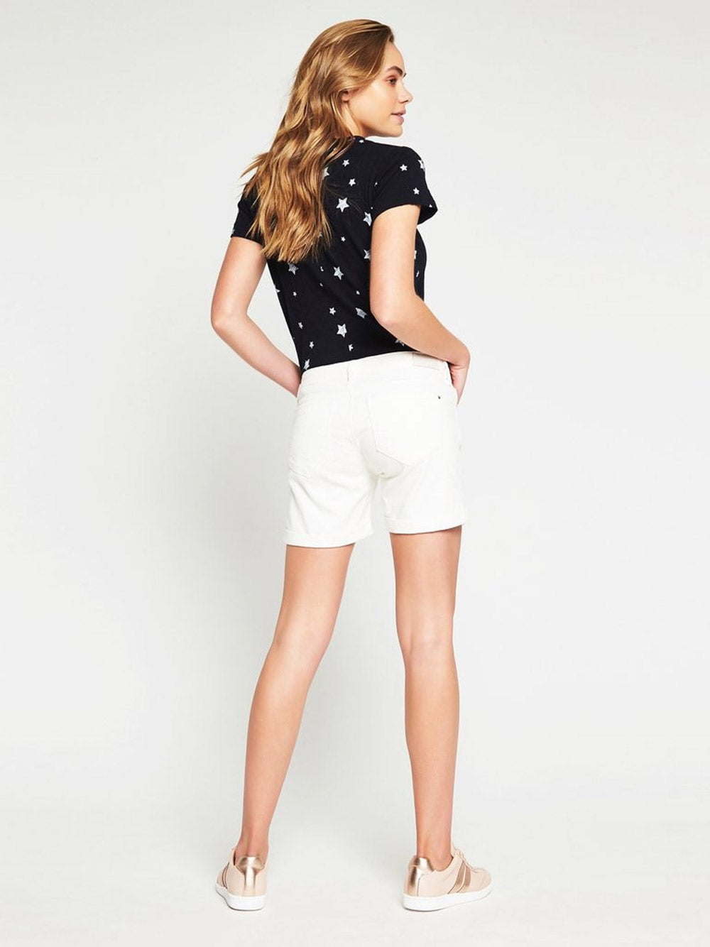 MAVI Pixie Mid Rise Boyfriend Shorts in White Gold
