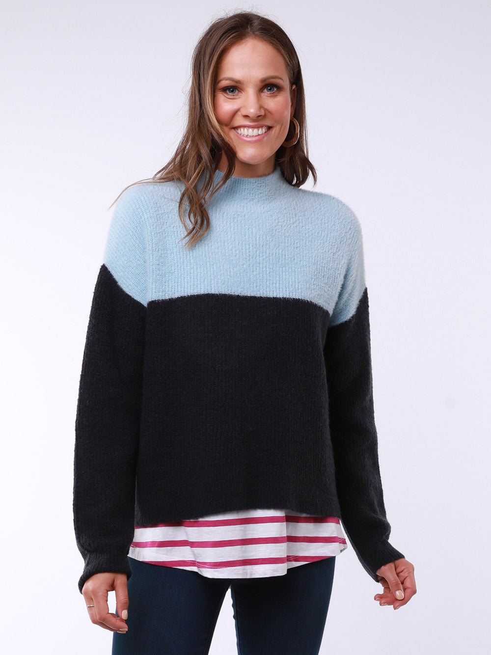 ELM Split Mock Neck Knit