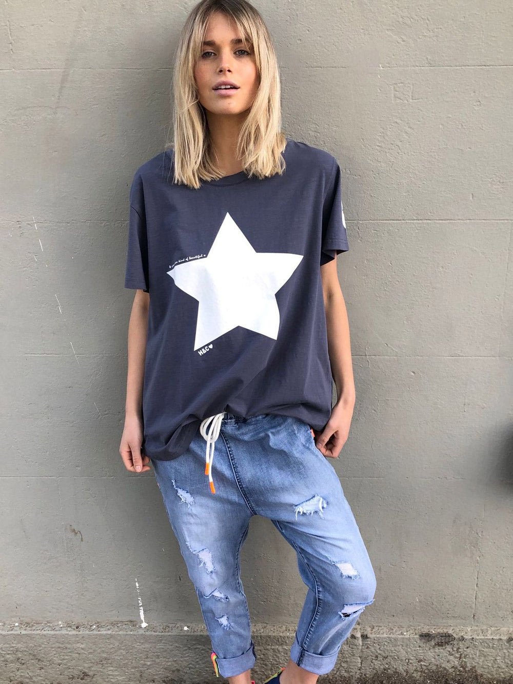 HAMMILL & CO Star Tee - Navy
