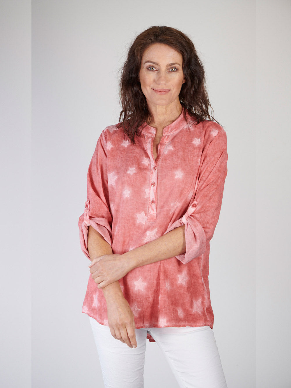 LOVE FROM ITALY Star Voile Shirt - Rouge