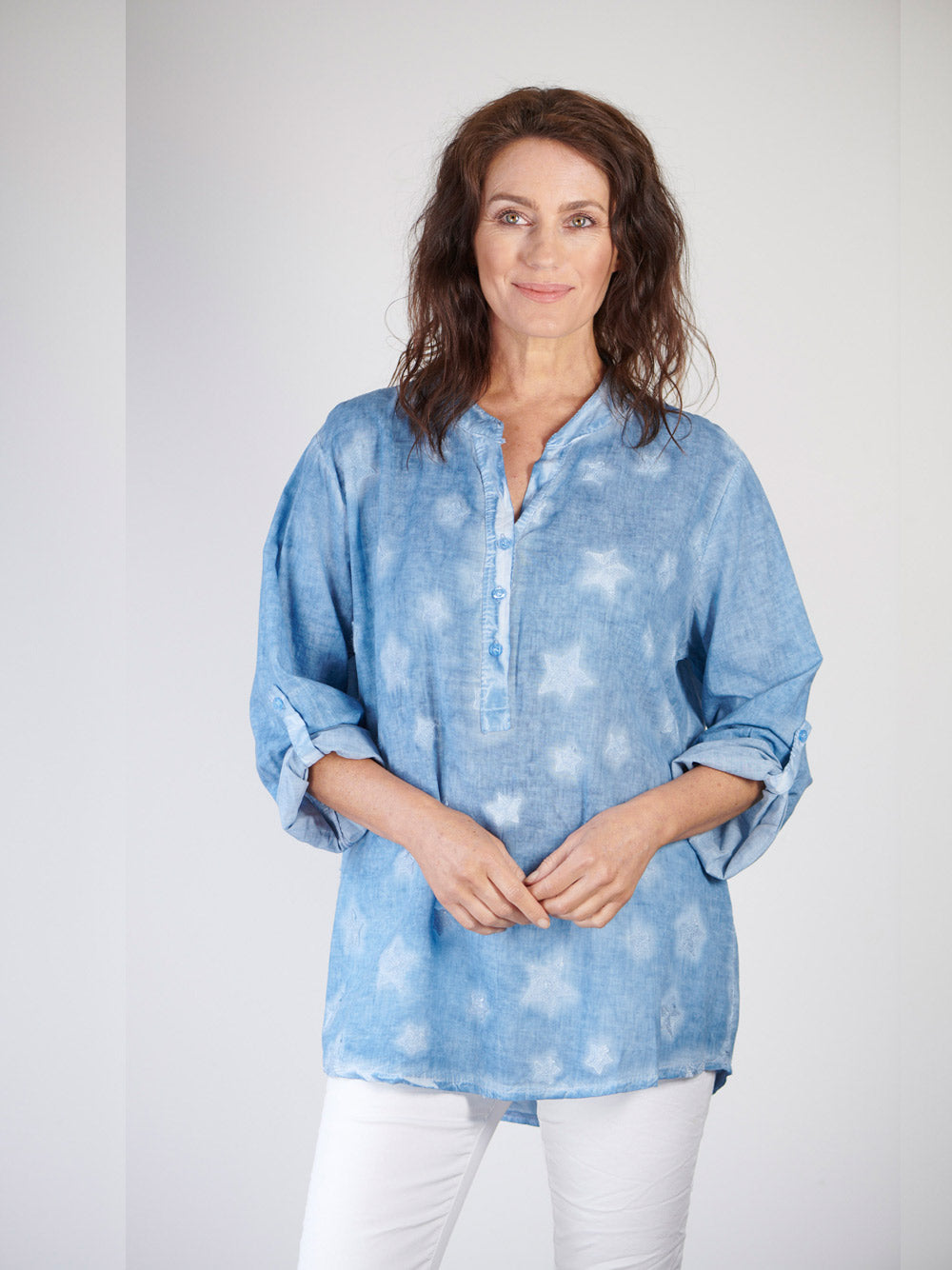 LOVE FROM ITALY Star Voile Shirt - Blue