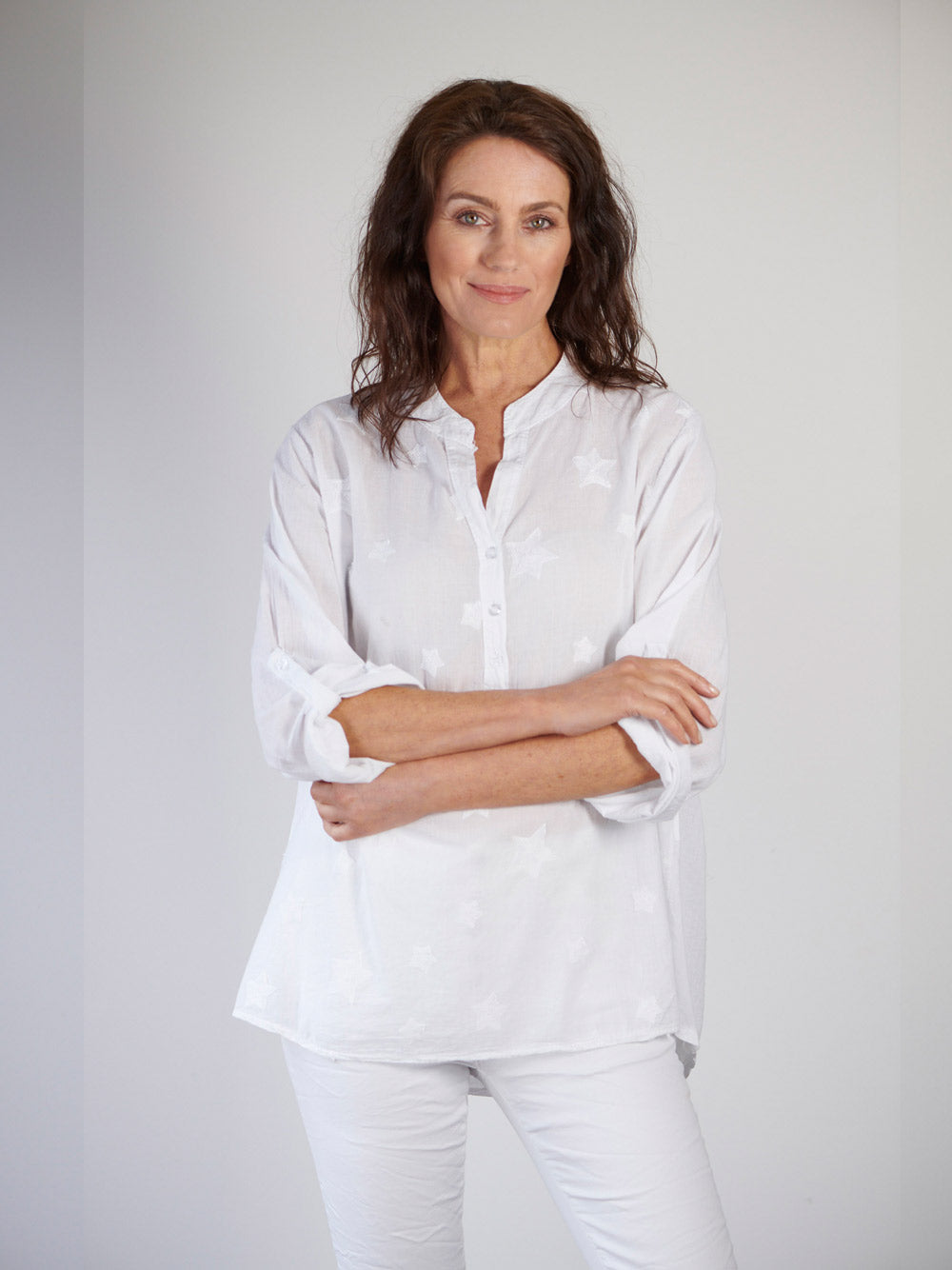 LOVE FROM ITALY Star Voile Shirt - White