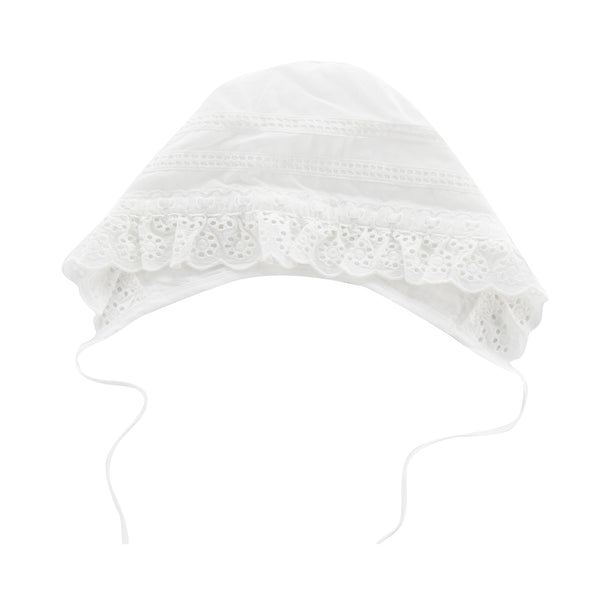 Embroidered Cotton Lace Bonnet