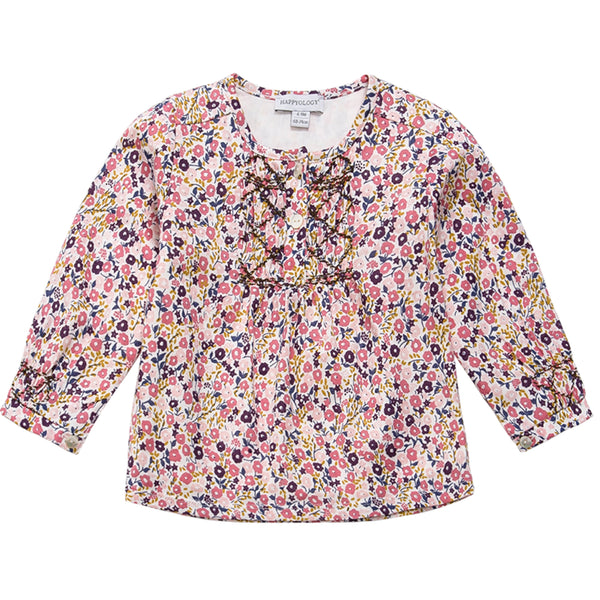 Smocked Floral Cotton Blouse