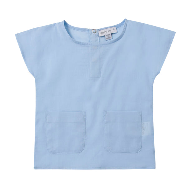Blue Cotton Pocket Tee