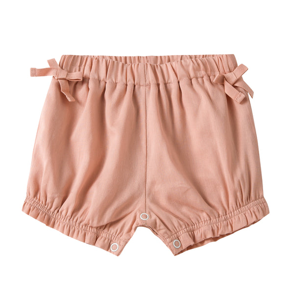 Pink Frilled Cotton Shorts
