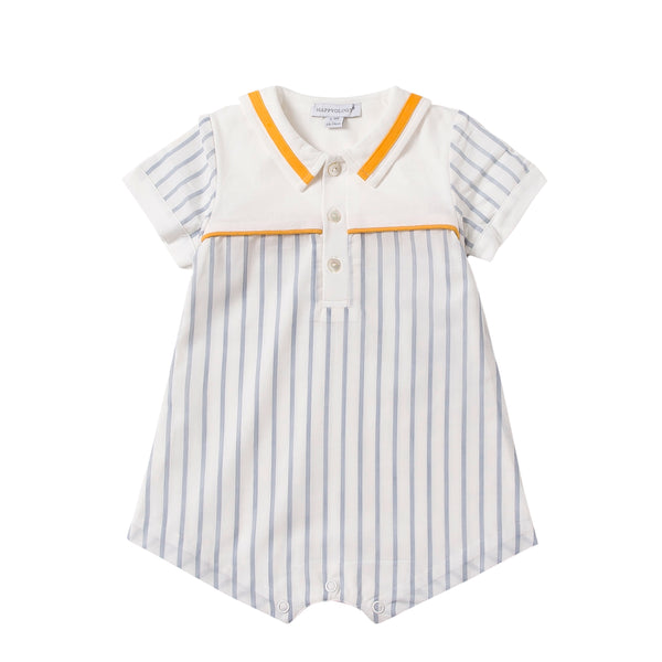 Blue Stripe Sailor Cotton Romper