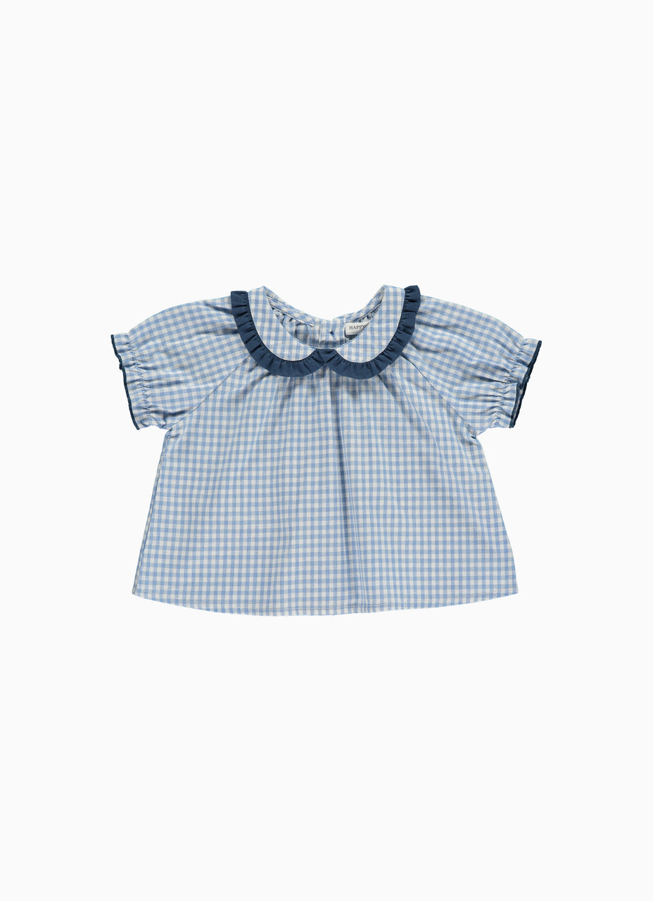 Apella Baby Top, Blue Gingham