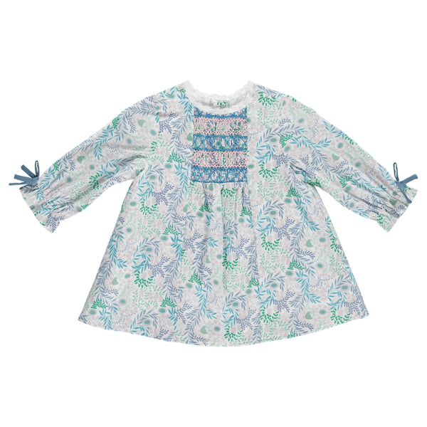Calla Baby Dress, Blue Floral