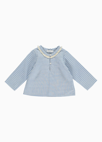 Kali Baby Top, Blue Gingham