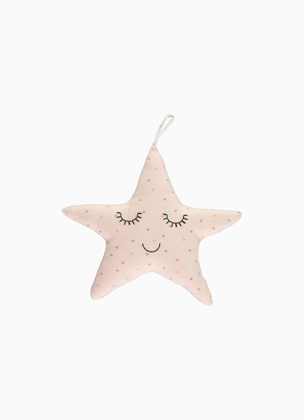 Twinkle Baby Rattle, Star Print Blush