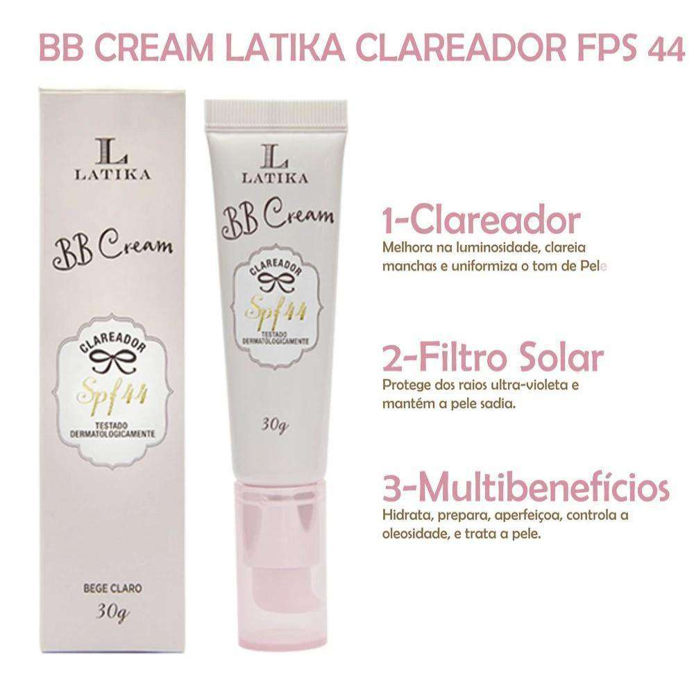 BB Cream Latika Clareador FPS 44 Base Claro - Loja Nadiaz