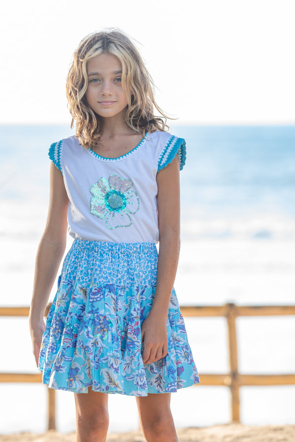 T-Shirt Blume blue