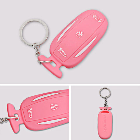 Silicone Key Fob cover with key chain for model X