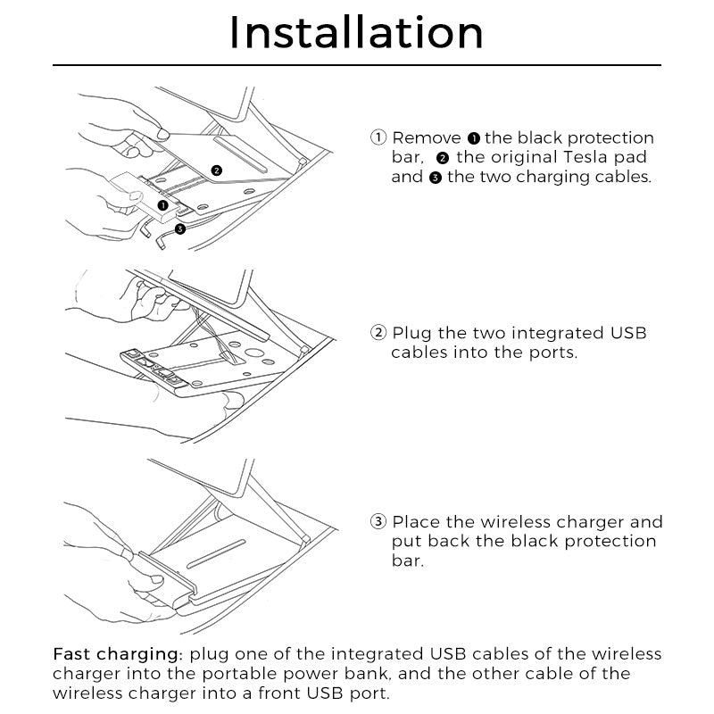 tesla model 3 wireless charger install instruction