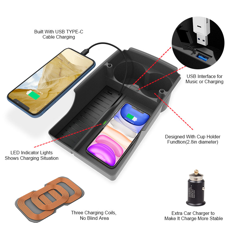 tesla wireless charger storage box holder