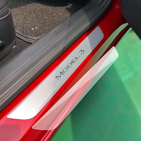 Door Sill Wrap for Tesla Model 3 Clear/Carbon Fiber - TAPTES
