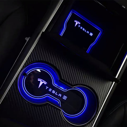 2PCS LED Lights Center Console Mats & Cup Holder Liners for Tesla Model 3 & Y