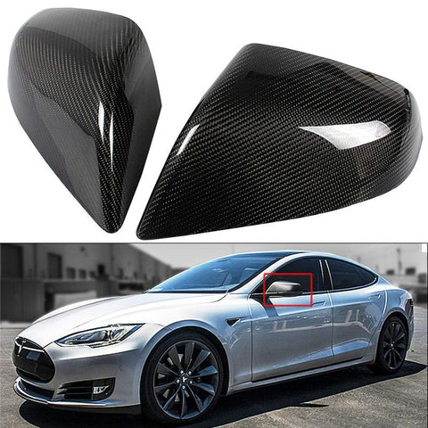 Carbon Fiber Side Mirror Covers Cap for Model S (set of 2)
