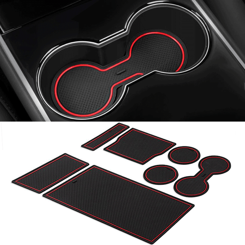 Center Console Cup Holder Liners for Tesla Model 3 (set of 7pcs)