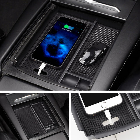 Center Console Storage Box with USB Hole for Model S