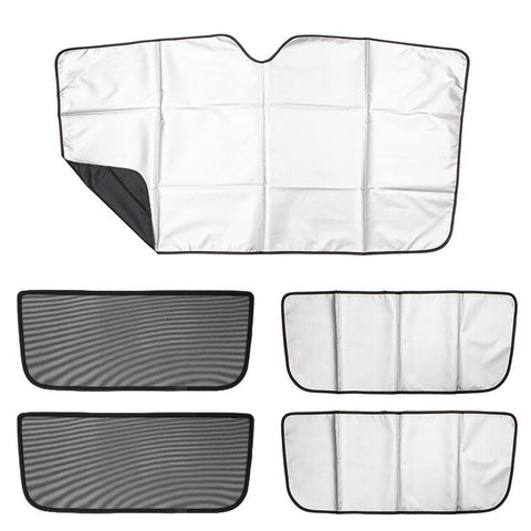 Front Reflective Sunshade and Falcon Wing Sun Shade (Set of 5) for Model X - TAPTES