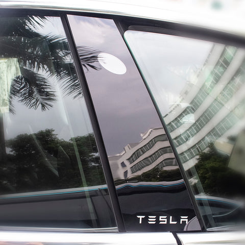Glossy Black B-Pillar Protective Trim for Tesla Model 3