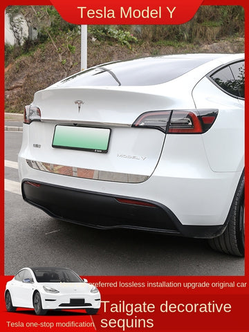 Tesla Model Y Trunk Trim Strip Modified Tailgate Bright Strip Trunk Exterior Decoration