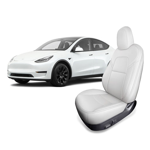 Leather Seat Covers for Tesla Model Y 2020 2021 Front Seats