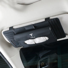 Car Sun Visor Hanging Multifunctional Tissue Box for Tesla Model 3/X/S - TAPTES