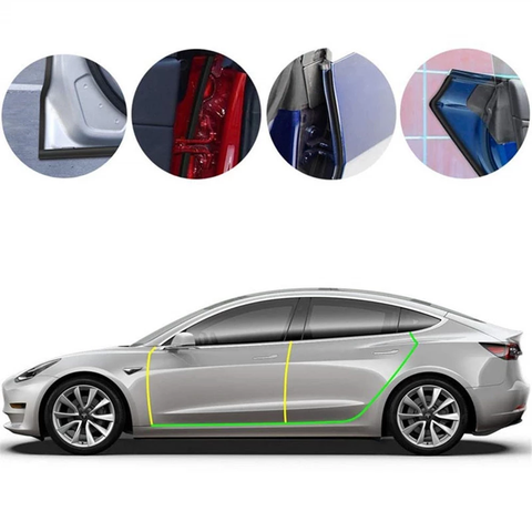Car Door Seal Strip Soundproofing Anti-dust Rubber for Tesla