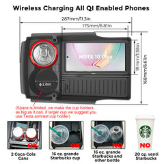 T-Box Tesla Model S X Wireless Phone Charging Organizer with Cup Holder 2016-2019