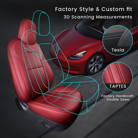 Custom Leather Seat Covers for Tesla Model 3 Front Seats