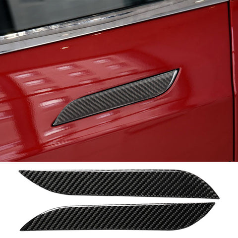 TAPTES Model S Carbon Fiber Door Handle Stickers, 4 Pcs