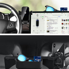 TAPTES Tesla Model 3/Y Cell Phone Mount with Wireless Charging & Storage Organizer