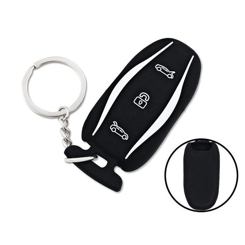 Tesla Silicone Key Fob cover with key chain3