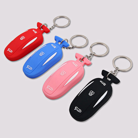 Tesla Silicone Key Fob cover with key chain12