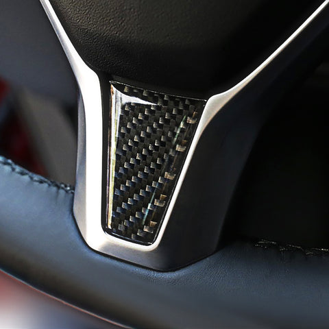 Carbon Fiber Steering Wheel Decoration Sticker for Model S - TAPTES