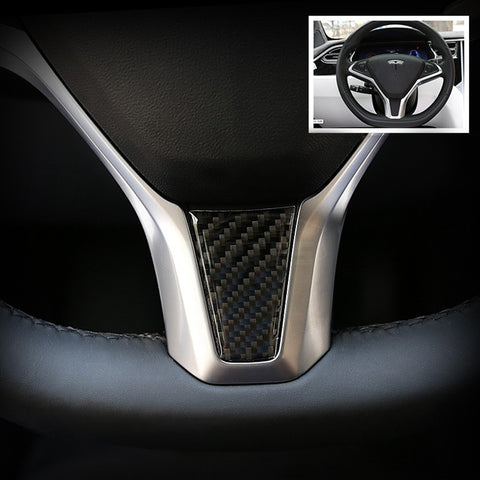 Carbon Fiber Steering Wheel Decoration Sticker for Model S X 3