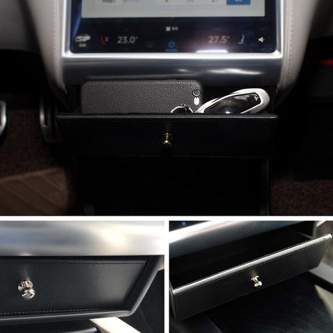 Compartment Drawer Storage Box with Stainless Steel Pull Handle for Model S - TAPTES