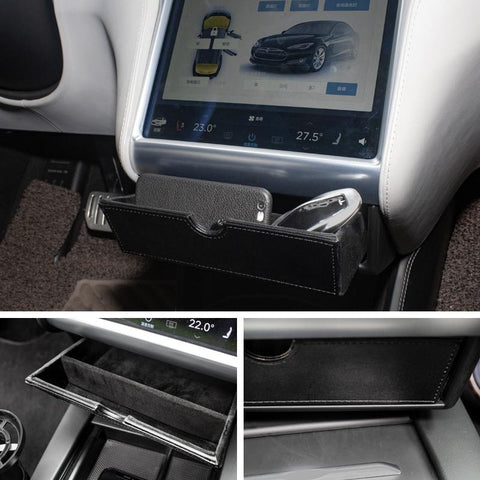 Center Console Cubby Compartment Drawer Storage Box For Tesla Model S - TAPTES