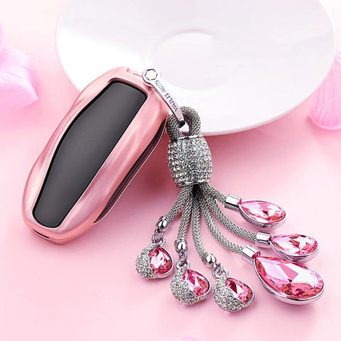 Crystal Bling Chain Key Fob Cover for Tesla Model 3 Model Y Model S