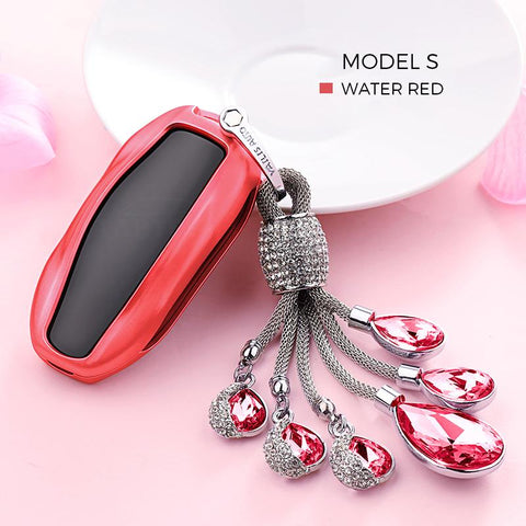 Crystal Chain Key Fob Cover for Tesla Model S