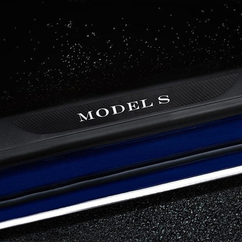 Carbon Fiber Door Sills Protection Stickers for Model S - TAPTES