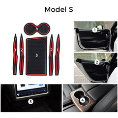 Custom Fit Cup and Center Console Liner for Tesla Model S 2018 2019 - TAPTES