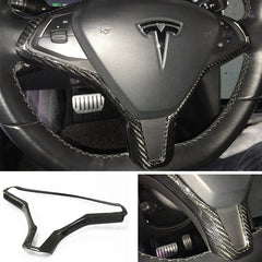 Carbon Fiber Steering Wheel Frame Cover Trim for Model X - TAPTES
