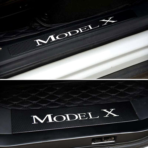 Carbon Fiber Door Sills Protection Kit Stickers for Model X (4 Pcs) - TAPTES
