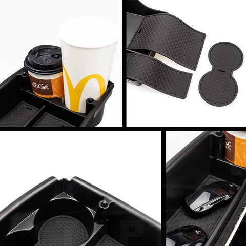 Center Console Organizer Storage Box with Cup Holder for Model S